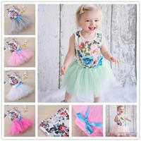 Wholesale Girl Romper Flower Skirt - Newest Baby Girls Floral Romper with Tutu Skirt Set Infant Toddler Fashion Flower Outfits Children Kids Rompers 70-80-90-100cm KD19