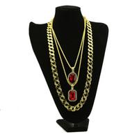 correntes de diamantes vermelhos venda por atacado-3 pçs / set homens de alta qualidade cubano miami colar red gem diamante hip hop banhado a ouro strass link cadeia conjuntos de jóias