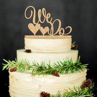 Wholesale Hearts Cake Toppers - Wholesale- Romantic Double Heart Shaped WE DO Wooden Wedding Cake Topper Decoration