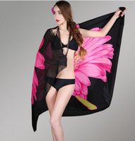 Wholesale Bikini Korea Sexy - Wholesale- New Korea Scarves New Sexy Chiffon Summer Swimwear Beach Cover Up Pareo Sarongs Bikini Scarf Tunic Wraps