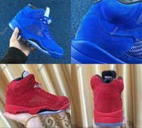 Wholesale Winter Shoes Without Laces - Men Retro 5 V Raging Bull Red Suede Tongue Reflect Basketball Shoes Retro 5s Bull Blue Sneakers Shoes Without Shoes Box
