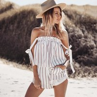 Wholesale Sexy Backless Outfit - 2017022523 Off shoulder stripe elegant jumpsuit romper White strap backless bow overalls Sexy summer beach playsuit women outfit