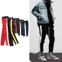 ropa de estilo hip hop urbano al por mayor-Nuevos pantalones de cremallera lateral hip hop FOG Justin Bieber estilo de ropa de moda urbana rastreador Pierna Zip pantalones basculador de la vendimia roja Negro Color Blanco