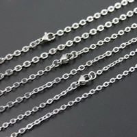 Wholesale Bulk Wholesaler China Jewelry - 100pcs Lot Fashion Women's Jewelry Wholesale in Bulk Silver Stainless Steel Welding Strong 1.5MM 2.4MM Oval Rolo Link Necklace Chain Tiny