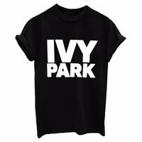 camisa divertida hombres mujeres al por mayor-IVY PARK Mujeres / Hombres camiseta Algodón Casual Divertido Flojo Blanco Negro Tops Tee Hipster Street 2017 Nuevo