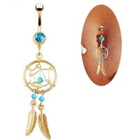 Wholesale dream catcher body jewelry - New Cute Design Golden Dream Catcher Rhinestone Piercing Belly ring Button Feather Navel Ring body jewelry
