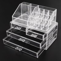 Wholesale Acrylic Bathroom Set - Acrylic Cosmetic Makeup Organizer Jewelry Display Boxes Bathroom Storage Case 2 Pieces Set W  4 Large Drawers