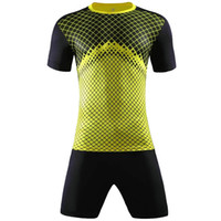 Wholesale Short Sleeve Check - Men Running kits Jogging Clothing V-neck short Checks sleeve football soccer jersey sports suit Print Training set 2017
