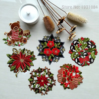 Wholesale Placemats Embroidered - Wholesale- 6Pcs Christmas Table Mats Pads Embroidered Placemats Coffee Table Cover Towel Red Cup Mat Placemats 14CM Christmas Decor Gift