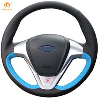 Wholesale Ecosport Cover - Mewant Blue Black Genuine Leather Car Steering Wheel Cover for Ford Fiesta 2008-2013 Ecosport 2013-2016