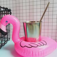 ingrosso telefono gonfiabile-Attrezzo per piscine Mini Flamingo Galleggiante Bevanda gonfiabile Lattina per cellulare Portabottiglie Galleggianti Lovely Pink Float Bath Drink Flamingo Giocattoli galleggianti