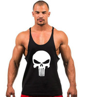 yeni spor ekipmanları toptan satış-2017 Yeni İskelet kafa baskı Atlet Erkek Tankı Üstleri Gömlek Spor Salonları Vücut Geliştirme Ekipmanları Spor Stringer Tank Top Giysileri