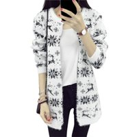 Wholesale Snowflake Cardigan Women - Wholesale-COCKCON 2016 Autumn and winter Female Sweater Coat Snowflake pattern Long Round Collar Knit Cardigan Women Sweater