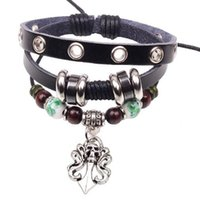 Wholesale Colorful Skull Bracelets - Men Women Punk Skull Bracelets Colorful Beaded Leather Alloy Charm Bracelets for Girls Perfect Christmas Gift