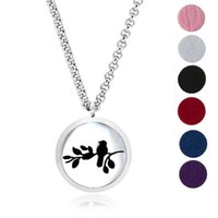 """Wholesale Bird Ropes - Stainless Steel Jewelry Bird Design Aromatherapy Diffuser Locket Essential Oil Perfume Diffuser Locket Necklace with 24"""" chain and pads"""