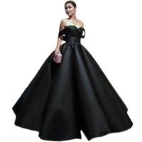 Wholesale strapless long satin bandage gown - 2018 black Evening Dresses Ball Gown Plus Size Sexy off the shoulder beaded Prom Dresses Long Formal Black Gowns 2017 Vestidos de Formatura