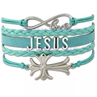 Wholesale Sideways Cross Infinity Bracelet Charms - Custom-Infinity Love Jesus Sideways Bracelet Cross Charm Wax Cords Wrap Braided Leather Adjustable Bangles Best Christmas Gift-Drop Shipping