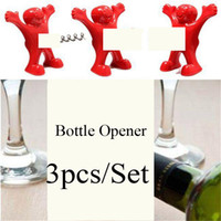 Wholesale Opener Stopper Wine - 3pcs Set Happy Man Kitchen Bar Bottle Opener Big Dick Villain Wine Stopper Bear Wine Stoppers Novelty Opener Creative Gift red colors