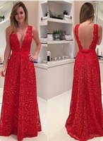 Wholesale Modal Photos - 2017 Sexy Deep V Neck Red Backless Prom Dresses Lace Appliques Sleeveless A Line Floor Length Dresses Evening Party Wear
