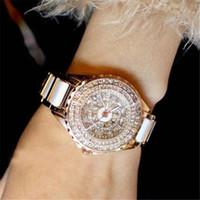 relógio de pulso de casamento venda por atacado-Mulheres de luxo Relógios de Diamante Relógio de Cerâmica de moda Vestido De Ouro Relógio de Pulso de Casamento relógios de pulso de Quartzo relógio de pulso das Mulheres Senhoras Presente