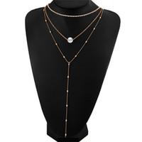 Wholesale Twisted Pearl Rhinestone Necklace - Fashion Women Three Layer Imitation Pearls Rhinestone Crystal Tassel Long Chain Choker Pendant Charm Necklace Jewelry Wholesale