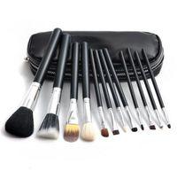 бесплатная подарочная сумка для макияжа оптовых-Макияж кисти набор M бренд 12 шт. тени для век румяна кисти макияж инструменты Профессиональная кисть + кожаная сумка с бесплатным корабль + бесплатный подарок