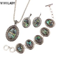 Wholesale VIVILADY Hot Tibetan Silver Natural Abalone Shell Jewelry Sets Women Vintage Necklace Earrings Bracelet Bridal Party Bijoux Gift