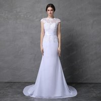 Wholesale Slim Look Dress - Short Cap Sleeve Sheath Chiffon Wedding Dress with Lace Applique Slim Look High Quality Real Photo