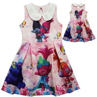 Wholesale girl tutus for parties resale online - Trolls Dresses for girl Girls clothing Sweet turn down collar Pink Princess dress Cartoon prints Sleeveless Party Stage performance
