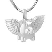 mosca del cerdo al por mayor-IJD9732 Flying Pig 316L Acero Inoxidable Cremación Collar Colgante Cenizas Funerarias Recuerdo Urna Collar de Memoria