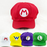 Wholesale Wholesale Red Mario Hats - 2017 Super Mario Bro Anime Mario Cap Cosplay New Best Gift super mario hat 100%cotton Free Shipping