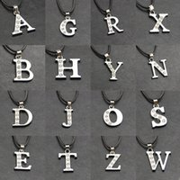 Wholesale Sterling Silver Alphabet Letters - Free shipping - New 1PC Womens Sterling Silver Initial Alphabet Letter A-Z Pendant Chain Necklace + Free Gift
