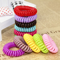 Wholesale Plastic Hair Bow Holders - Children's Accessories Hot Candy Colored Telephone Line Elastic Hair Bands Hair Ties Hair Ring Rope Ponytail Holder Hairwear For Women A6942