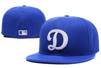 Wholesale Cotton Logos Design - 2017 Arrival Men's Los Angeles Dodgers Fitted Hats Embroidered Big D Logo Sport On-Field Design Baseball size cap