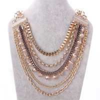 Wholesale Glass Pearl Long Chain - New women's crystal long crystal pearl pendant was decorated in gold ball Necklaces jewelry 1pcs lot wholesale drop shipping