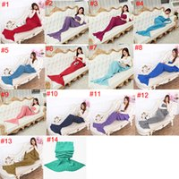 Wholesale Jacquard Super Color - Mermaid Tail Blanket Super Soft Hand Crocheted cartoon Sofa Blanket air-condition blanket DHL Free OTH317