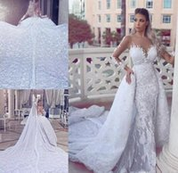 8fd5827e419 Wholesale long sleeve wedding dress removable skirt for sale - 2017 Said  Mhamad Luxury Lace Wedding