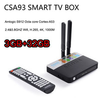 Wholesale Dual Lan - 3GB 32GB CSA93 Amlogic S912 Octa core Android 7.1 TV Box Cortex-A53 BT4.0 2.4G 5.8G Dual WiFi 1000M LAN H.265 4K Media Player KD 17.3