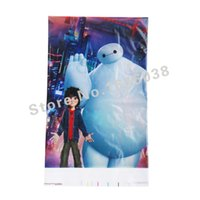 Wholesale Plastic Tablecover - Wholesale-1pcs Lovely 220*132cm disposable Birthday tablecloths Baymax kids happy birthday party plastic tablecover supplies