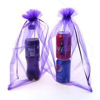 Wholesale Purple Organza Candy Bags - Wholesale-25x35cm Purple Candy Packaging Bags Organza Bags Promotional Gifts Customized Logo Bag Saco De Organza 100pcs lot