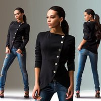 Wholesale Sexy Big Breasted Women - Wholesale- 2017 Fashion New European Personality Casual Women Jackets Side Button Long Sleeve Female Jacket Big Size Sexy Black Sweatshirt