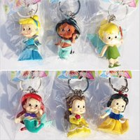 Wholesale Cute Jasmine - 2Set Princess Figures keychain Cute Q Snow White Bella Cinderella tinkerbell Jasmine Mermaid Toys Doll For Girl 5cm Free Shipping