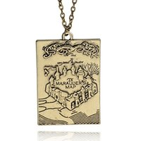 Wholesale Tin Tags Wholesale - Silver Plated Alloy children Marauder Treasure Map Necklace Ancient fortress rectangle Pendant fort old castle Necklace x384