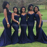 Wholesale Open Back Cross Strap Dress - 2017 Nigeria Navy Blue Bridesmaid Dresses with Open Back Mermaid Spaghetti Ruffled Pleated Formal Prom Dress for Party Custom Made