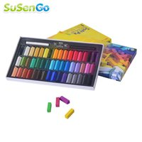 Wholesale Crayon Chalk - Wholesale- SuSenGo Soft Pastel 48 Painting Crayons Soft Pastels Art Drawing Set Chalk Color Crayon Brush Stationery for Students