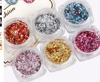 Wholesale art hexagon glitter online - F437 New Style Nail Art Glitters Mini Hexagon Foil Sequins Mixed Colorful Shiny Decorations Manicure Pedicure Tools Tips
