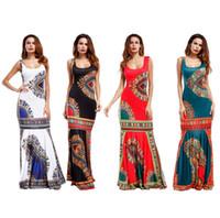 bazin kadın elbiseleri toptan satış-2017 Kadınlar Afrika Dashiki Elbiseler Maxi Afrika Bazin Baskı Bornoz Longue Elbiseler Geleneksel Bayanlar Artı Boyutu Için Afrika Giyim