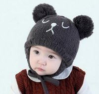 Wholesale toddler crochet cat hat resale online - Fashion Autumn Winter baby hat Girl Boy Toddler Infant cartoon bear cat Kids Caps newborn photography accessories for M