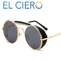 Wholesale light shades black - EL CIERO High Quality Ultra Light Metal Wrap Sunglasses For Men & Women 2017 Luxury Round Sun Glasses Unisex Fashion Shades UV400 Protection