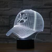 Wholesale Nightlight Toys - Free Shipping New York Yankees Baseball Team Cap 3D Light Hat Nightlight Led Desk Table Lamp for Kids Sleeping Light Light Up Toy